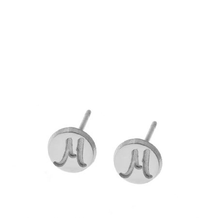 Disc Stud Earrings With Initials