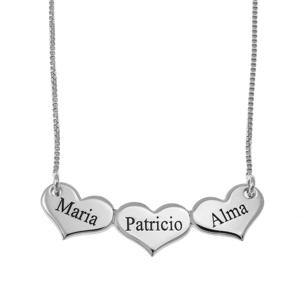 Engraved Horizontal Hearts Necklace silver