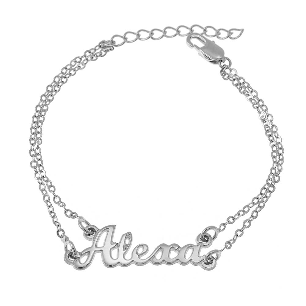 Cut Out Name Double Chain Bracelet silver