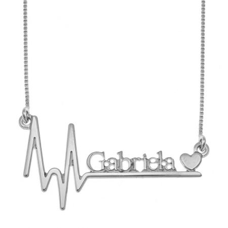 Heartbeat Name Necklace with Heart