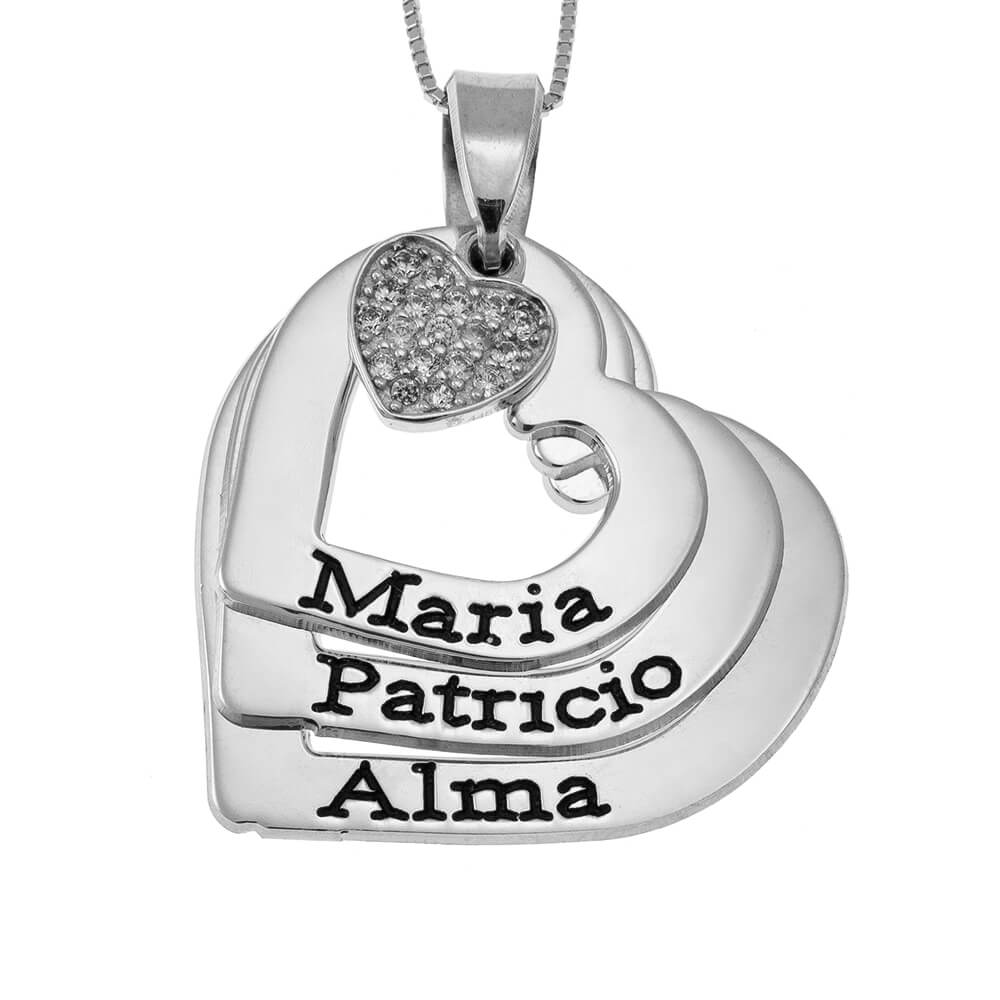 Hearts Names Necklace With Inlay Heart silver