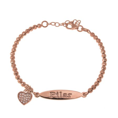 Oval Name Bead Bracelet with Inlay Heart Pendant