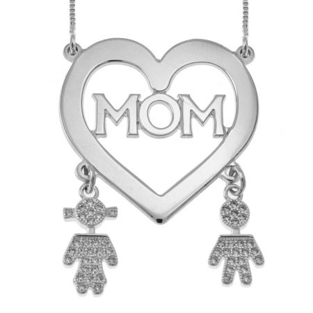 Mom Heart Necklace With Inlay Kids