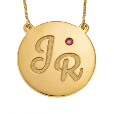 Engraved Disc Initials Necklace With Birthstone