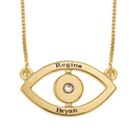 Evil Eye Two Names Necklace