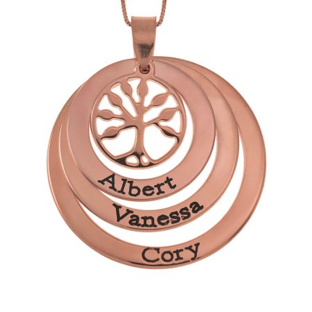 Family Layers Discs Necklace With Tree Of Life