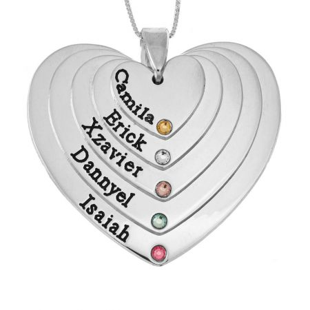 Five Shades Engraved Hearts Mother Necklace With Birthstones