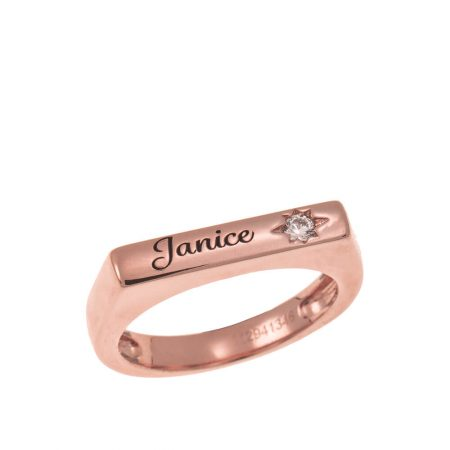 Stackable Bar Name Ring With White Stone