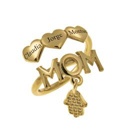 MOM Names Ring With Hearts gold