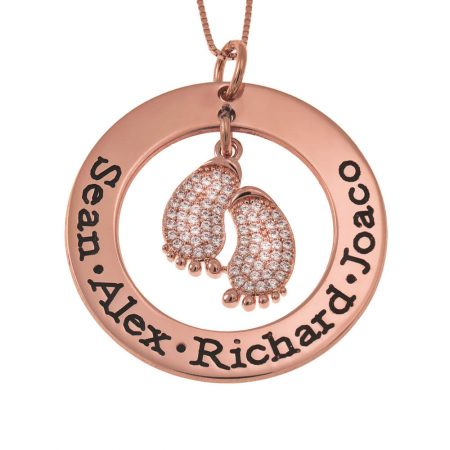 Round Mother Necklace With Inlay Baby Feet