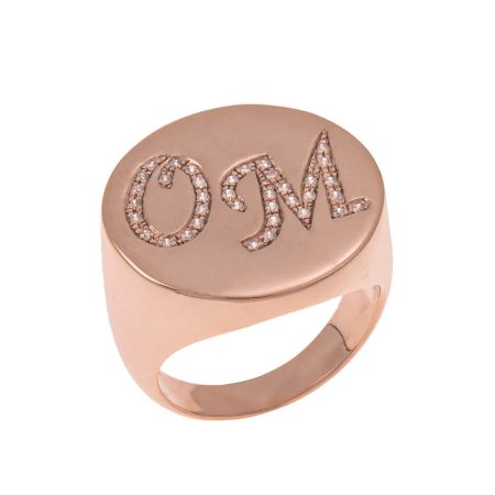 Two Initials Inlay Signet Ring
