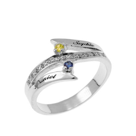 Engraved Two Birthstones Inlay Ring