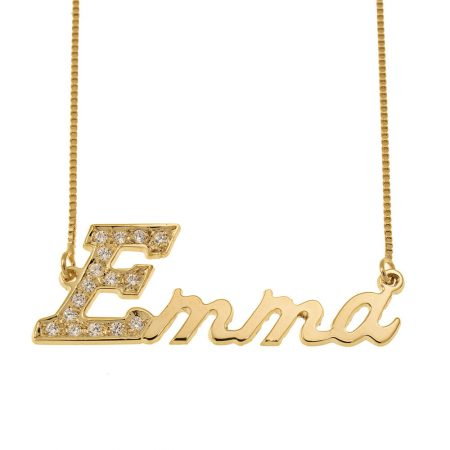 First Letter Name Necklace with Swarovski