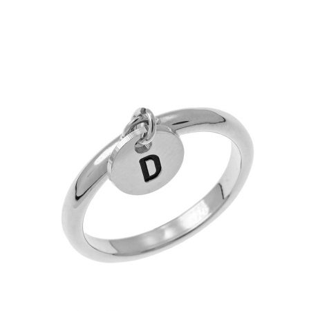 Initial Disc Charm Ring