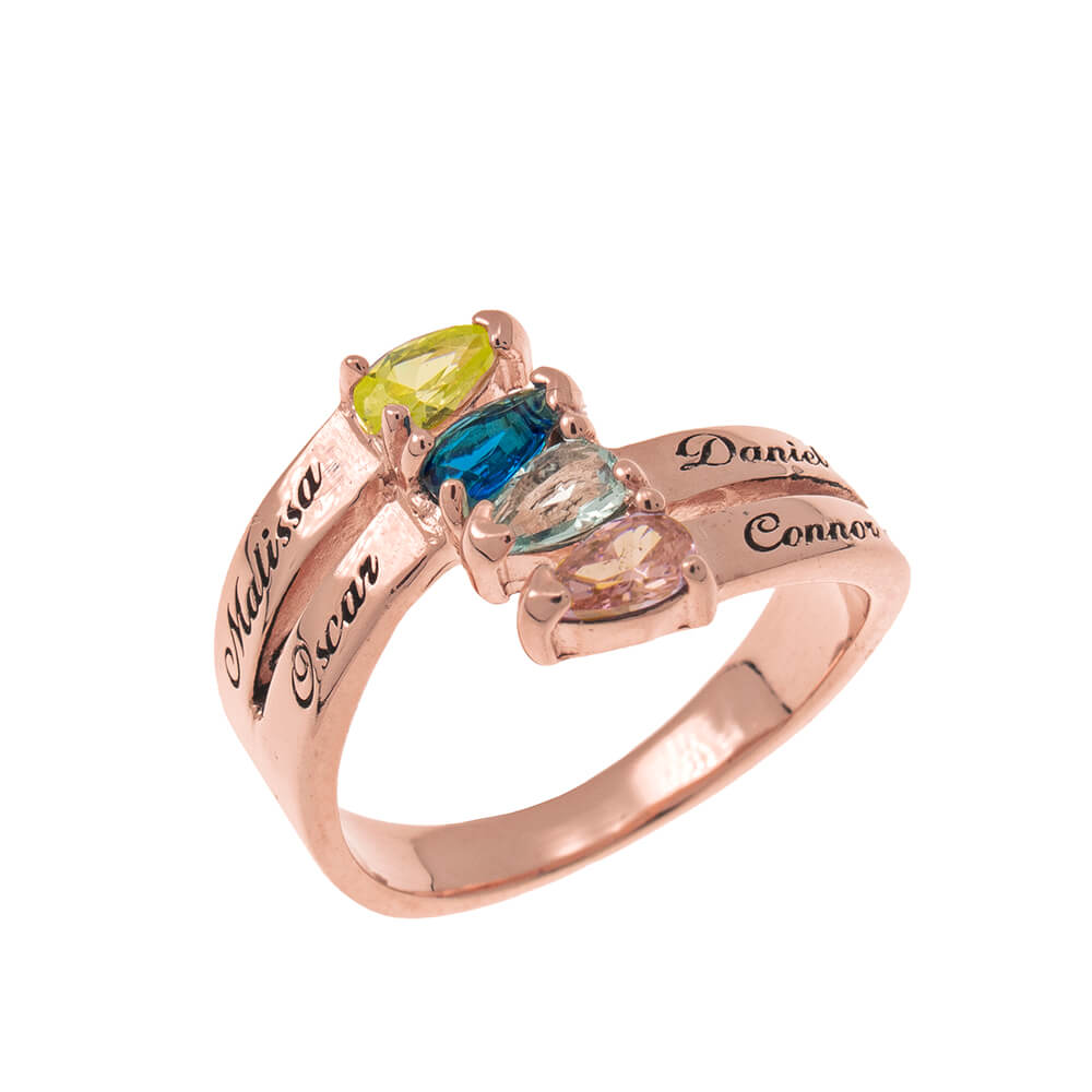 Mothers' Ring with four Birthstones rose gold