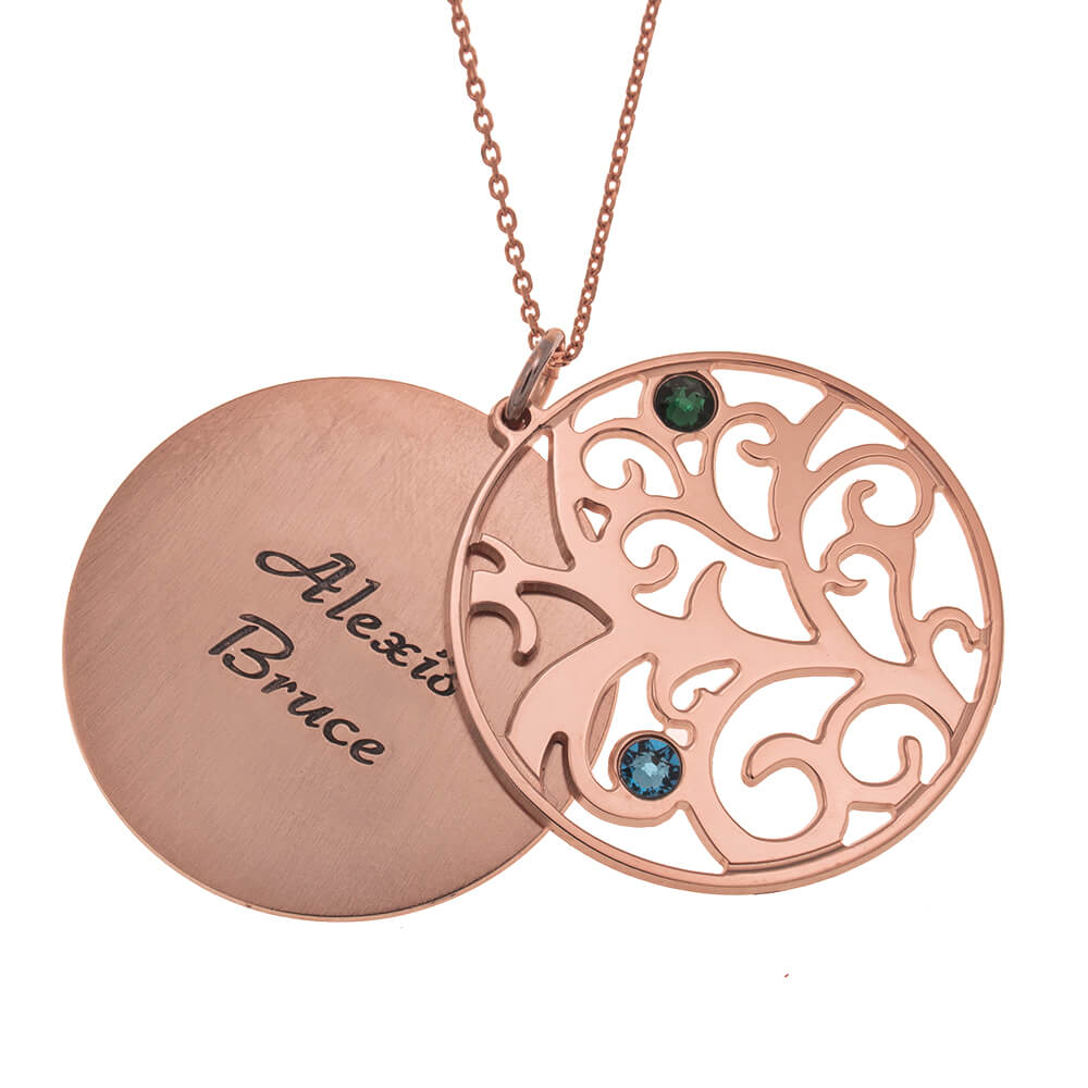 Personalized Double Layer Family Tree Necklace 2 names rose gold