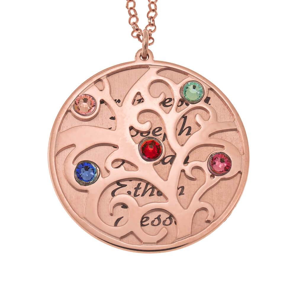 Personalized Double Layer Family Tree Necklace rose gold