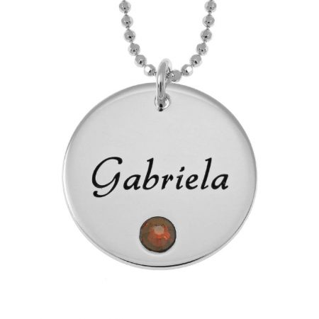 Vintage Disc with Birthstone Necklace