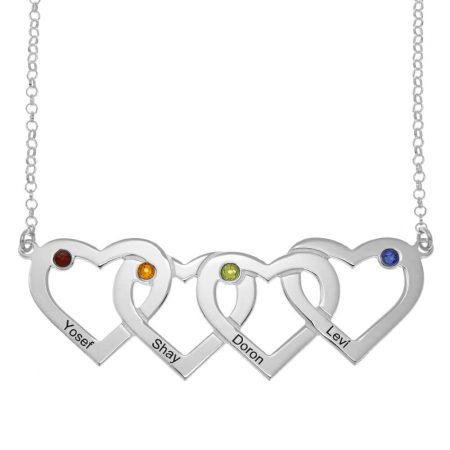 Four Intertwined Hearts and Birthstones Necklace