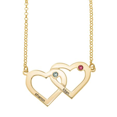 Two Intertwined Hearts and Birthstones Necklace