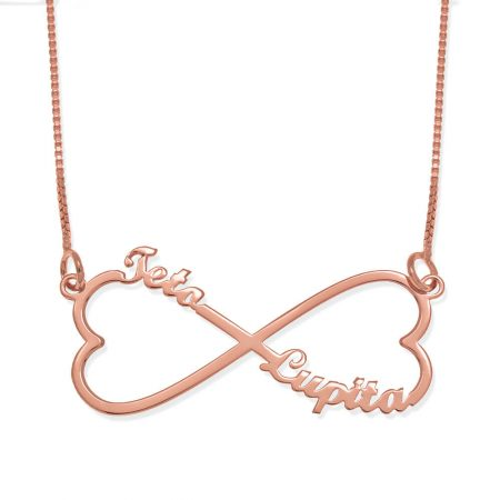 Personalised Infinity Heart Two Names Necklace