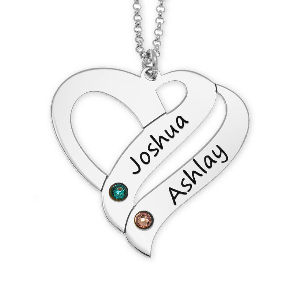 Personalized Couple Heart Necklace with Birthstones silver